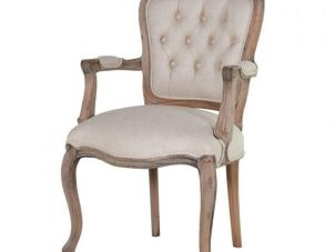 Carver Dining Chair - Reclaimed Carved Oak - Deep Buttoned Linen Fabric