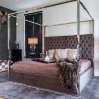 6ft Super King-Size Bed - Chrome Surround 4 Poster - Mouse Grey Velvet
