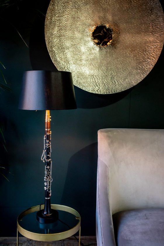 Table Lamp - 'Armstrong' Original Clarinet Table Lamp - Black Gold Inlaid Shade