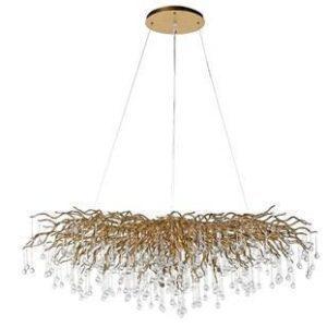 Chandelier - Cut Crystal Glass - Droplet Design - Oblong Gold Branch Design