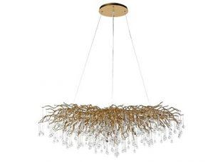 Chandelier - Cut Crystal Glass - Droplet Design - Oblong Gold Branch Design