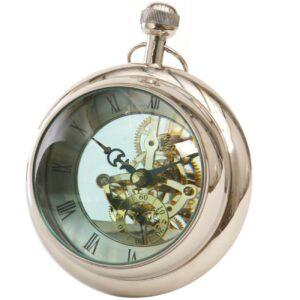 Mantel Clock - Round Bulbous Glass Design - Polished Chrome