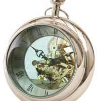 Mantel Clock - Polished Chrome - Round Bulbous Glass Paperweight Design
