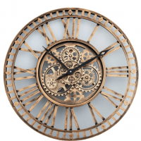 Moving Centre Cogs Round Wall Clock - Gold Finish - Roman Numerals