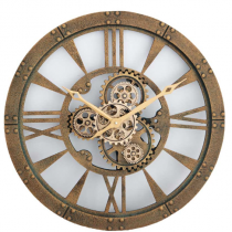 This antique Gold round wall clock comes with the added centre piece of moving cogs and has to be seen to be appreciated. A fantastic new design to add to our clock range. See the other clocks available which have moving cogs! Roman numerals Battery Operated - Not included
