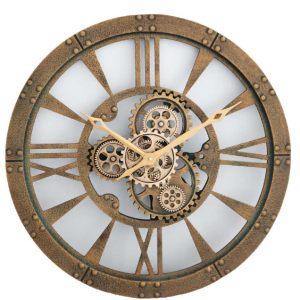 Wall Clock - Round Gold Finish Moving Cogs - Roman Numerals