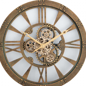 Wall Clock - Round Gold Finish Moving Cogs Wall Clock - Roman Numerals