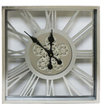 Square Moving Cogs Skeleton Wall Clock - Silver Finish