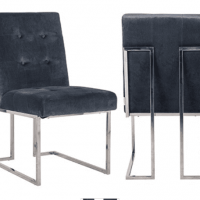 Grey Velvet Buttoned Square Back Dining Chair - Chrome Legs
