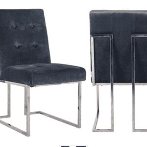 Grey Velvet Buttoned Square Back Dining Chair - Chrome Legs