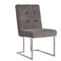 Stone Velvet Buttoned Square Back Dining Chair - Chrome Legs
