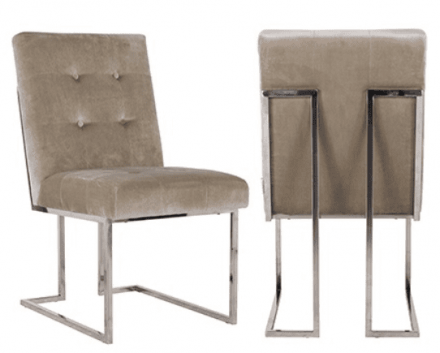 Great new design to the Dining Chair Range - rich velvet fabric with button design. Very sumptuous and contemporary. Lots of other dining chairs in a similar colour and design are also available - see pictures. https://womacksofbawtry.co.uk/shop/furniture/chairs/dining-chairs/stone-velvet-deep-buttoned-high-back-dining-chair-chrome-legs/ https://womacksofbawtry.co.uk/shop/furniture/chairs/dining-chairs/khaki-velvet-deep-buttoned-high-back-dining-chair-chrome-legs/ https://womacksofbawtry.co.uk/shop/furniture/chairs/dining-chairs/green-velvet-deep-buttoned-high-back-dining-chair-gold-legs/