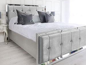5ft King-Size Bed - Venetian Mirrored - Deep Buttoned - Silver Velvet