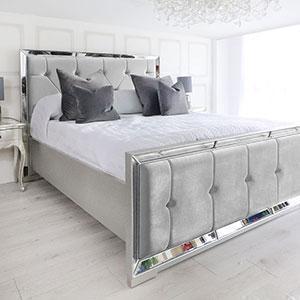 5ft King-Size Bed - Venetian Mirrored - Deep Buttoned - Silver Velvet