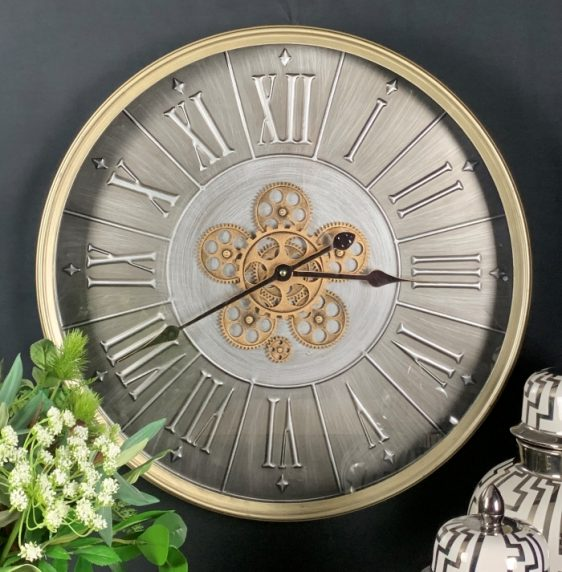Wall Clock - Round Moving Gold Cogs - Champagne Silver Metal Finish