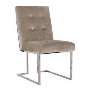 Dining Chair - Buttoned Square Back Dining Chair - Chrome Legs - Khaki Velvet