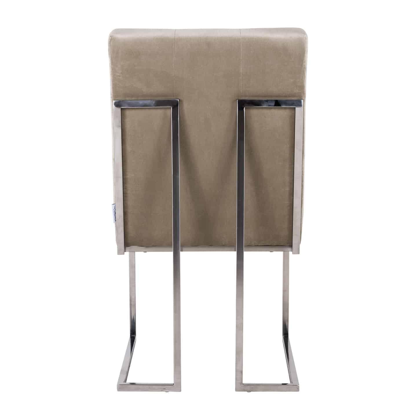 Dining Chair - Buttoned Square Back - Chrome Legs - Khaki ...