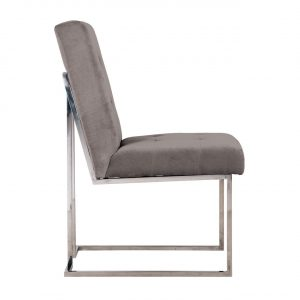Dining Chair - Buttoned Square Back Dining Chair - Chrome Legs - Stone Velvet