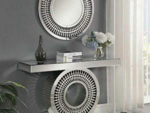 Console & Mirror Set - Crystal Mirrored Bevel Edged Console Table & Mirror - Mirrored Furniture Range