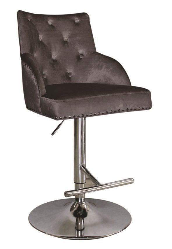 Phenomenal Pewter Velvet Gas Lift Chrome Studded High Back Bar Stool Alphanode Cool Chair Designs And Ideas Alphanodeonline