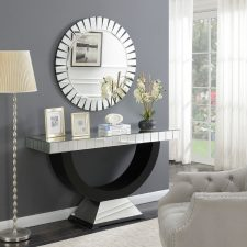 A brand new addition to our Mirrored Furniture Range - Bevelled Console Table & Mirror Other mirrored consoles are also available. https://womacksofbawtry.co.uk/shop/furniture-by-range/mirrored-furniture-range/mirrored-furniture-range-crystal-mirrored-bevelled-edge-console-table/ Height: 80cm Depth: 40cm Width: 136cm Mirror 90cm