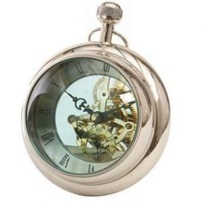 Mantel Clock - Polished Chrome - Round Bulbous Glass - Paperweight Design