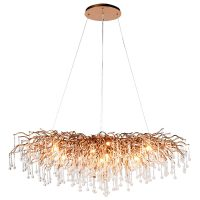 Chandelier - Cut Crystal Glass Droplet Design - Gold Frame Large Oblong Chandelier