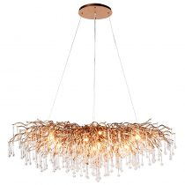 Cut Crystal Glass Droplet Gold Frame Oblong Chandelier