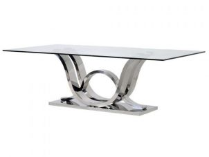 240cm Dining Table - Glass Top - Polished Chrome Base - Extra Large