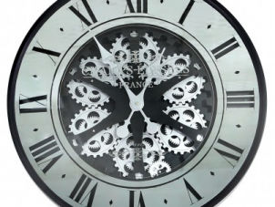 Wall Clock - Round 'Champs Elysee's' Moving Cogs Wall Clock - Mirror & Black Finish