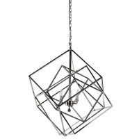 Chandelier - Chrome Finished Square Design 3 Light Box Chandelier