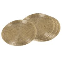 Place Mats - Round Heavy Gold Beaded Place Mats - Set of 4