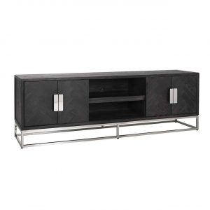 TV Sideboard - Chrome & Black Ash Herringbone Finish - 4 door - Blackbone Collection
