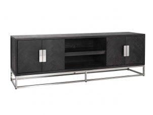 TV Sideboard -Chrome & Black Ash Herringbone Finish - 4 door - Blackbone Collection