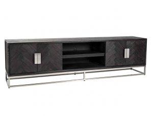Long TV Sideboard - Chrome & Black Ash Herringbone Finish - 4 door - Blackbone Collection