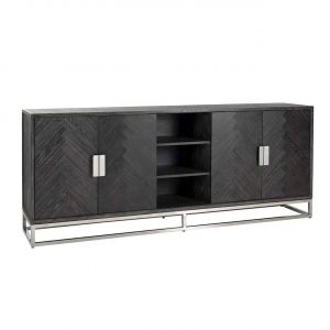 Long Sideboard - Chrome & Black Ash Herringbone Finish - 4 door - Blackbone Collection