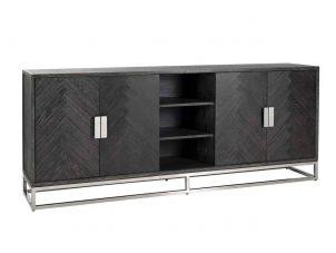 Long Sideboard - Chrome & Black Ash Herringbone Finish - 4 door - Blackbone Collection