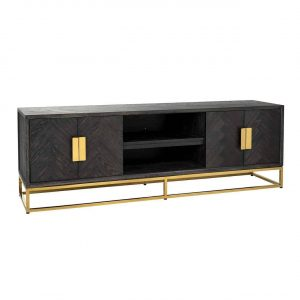TV Sideboard - Brass & Black Ash Herringbone Finish - 4 door - Blackbone Collection
