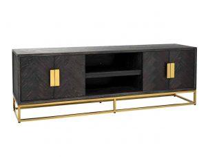 TV Sideboard - Brass & Black Ash Herringbone Finish - 4 door - Blackbone Collection