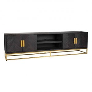 Long TV Sideboard - Brass & Black Ash Herringbone Finish - 4 door - Blackbone Collection