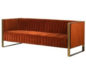 3 Seater Sofa - Deep Ribbed Burnt Orange Velvet - Brass Finished - 3 Seater Sofa