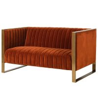 2 Seater Sofa - Deep Ribbed Burnt Orange Velvet - Brass Finished - 2 Seater Sofa