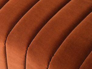 3 Seater Sofa - Deep Ribbed Burnt Orange Velvet - Brass Finished - 3 Seater Sofa