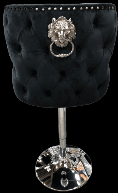 Pink Velvet & Chrome Deep Buttoned Bar Stool - Chrome Lion knocker To pay in 3 select Klarna at checkout. No credit check, simply split the cost over three months. This beautiful Pink bar stool is a great new design to add to the Bar Stool Range - rich velvet with a deep button design and chrome pull ring. Also available in Champagne, Black & Grey velvet. Width: 53cm Height: 120cm Depth: 58cm Seat Height: 63cm - minimum