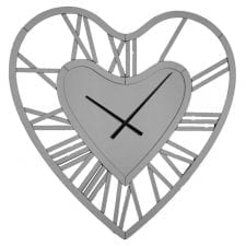 Large mirrored heart wall clock