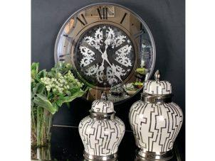 Wall Clock -'Champs Elysee's' - Moving Cogs - Mirror & Black Finish
