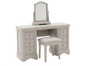 Dressing Table Stool & Mirror Set - 6 Drawer - Isabel Bedroom Range -Taupe Finish