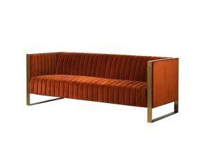 3 Seater Sofa - Deep Ribbed Burnt Orange Velvet - Brass Finished