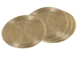 Place Mats - Round Gold Heavy Beaded Place Mats - Set of 4