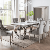 'Sierra' Chrome & White Marble Dining Table - 200cm - 6 Chairs